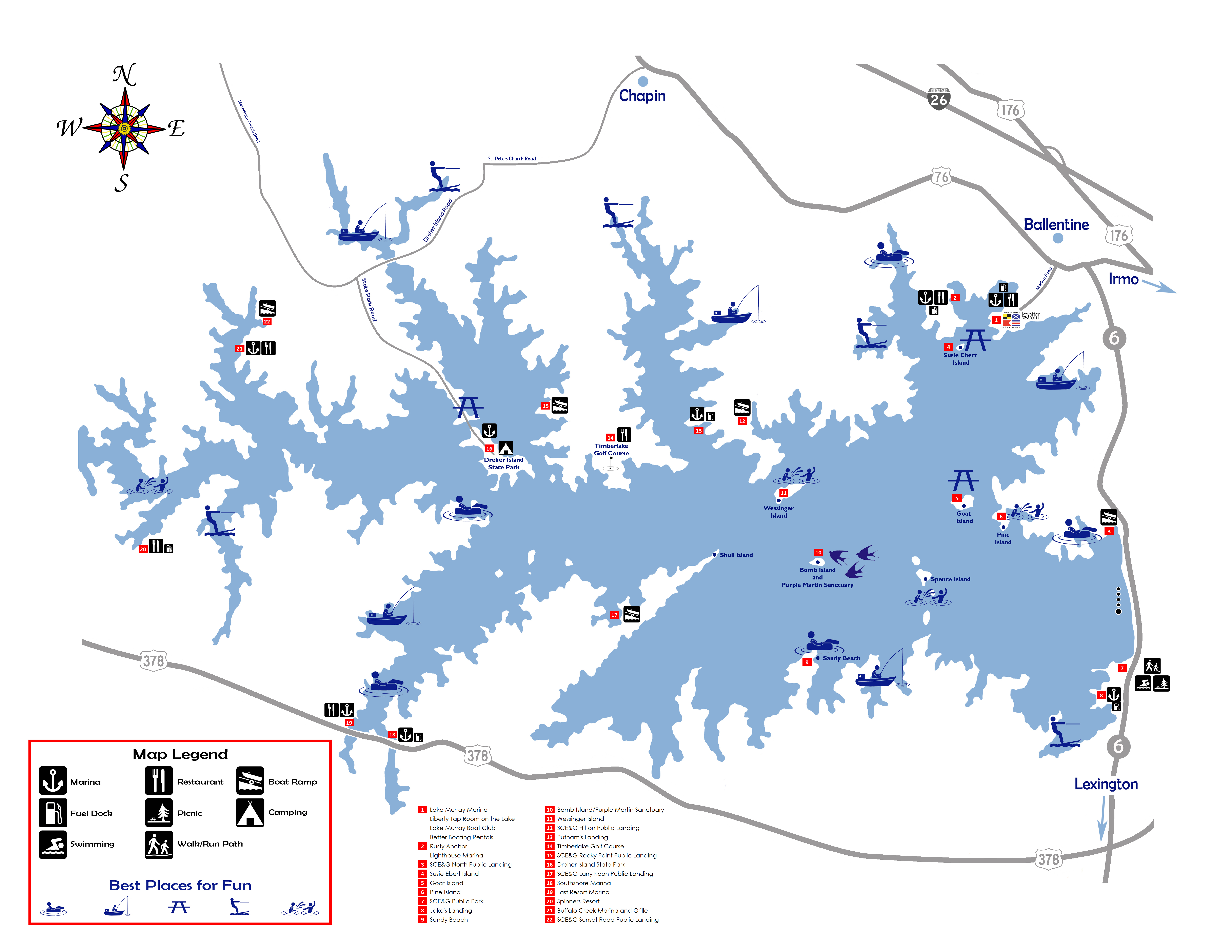 Hours And Location Lake Murray Boating